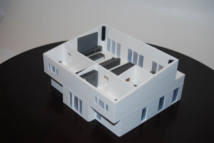 back 3D printed house + interiors