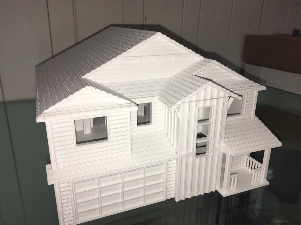 3d printed scale model with external textures and interior walls and details. 3D printing benefits for architects