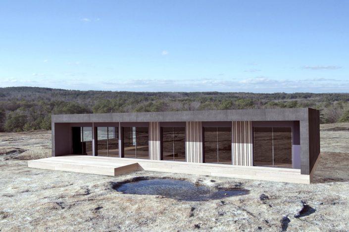 futuristic Wilderness cabin 3D photorealistic rendering